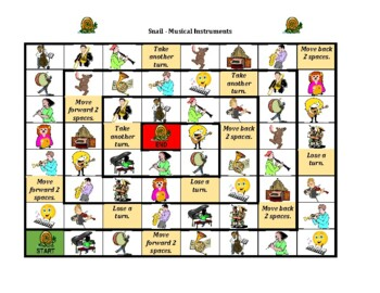 Musical Instruments in English Snail Game