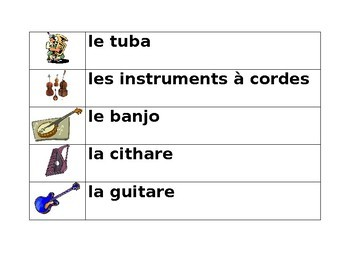 Instruments musicaux (Musical instruments in French) word wall