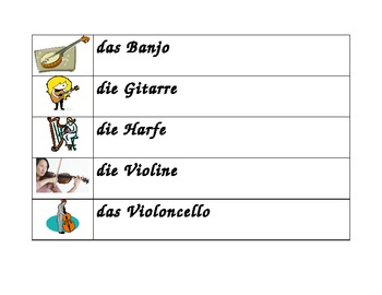 Musikinstrumente (Musical instruments in German) word wall