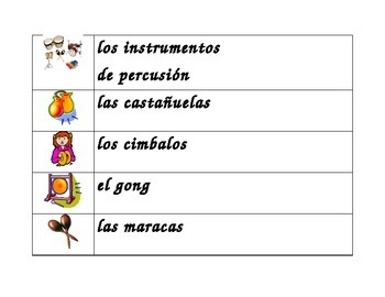 Instrumentos musicales (Musical instruments in Spanish) word wall