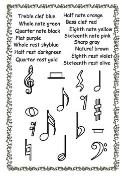 Musical Symbols Coloring Pages By Anastasiya Multimedia Studio Tpt