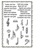 Musical symbols coloring pages