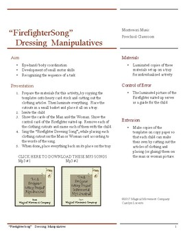 """Musically Montessori: """"Firefighter Getting Dressed"""" Song and Manipulatives"""