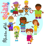 Musician Kids and Instruments and Music Note symbols Clip art