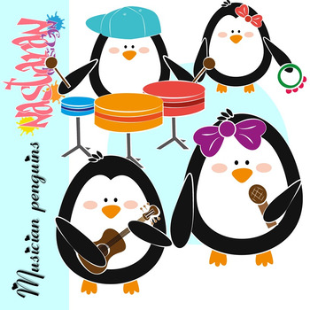 Musician Penguins Clipart