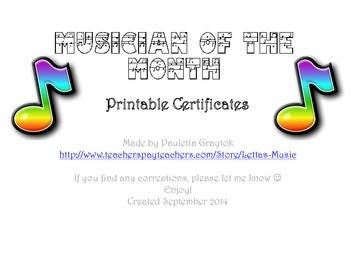 Musician of the Month Certificates
