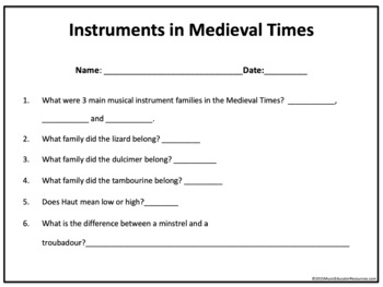 Musicians and Instruments in Medieval Times