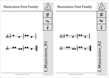 Musicstave N1 & N2 Fonts - Home User