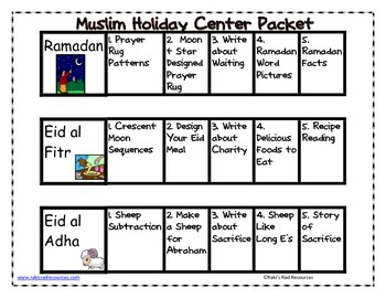 Muslim Holidays Center Packet for First and Second Grade