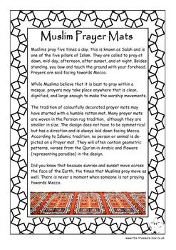 Muslim Prayer Mats ~ an info. guide and craft activity