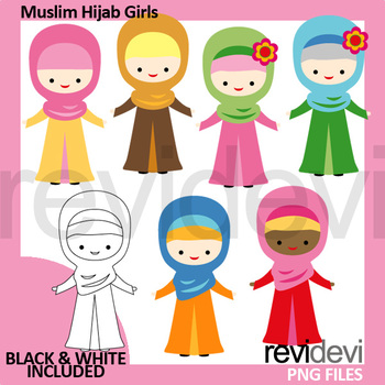 Muslim clip art (hijab girls clipart)