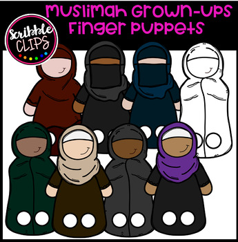 Muslimah Grown-up Finger Puppets (Scribble Clips)