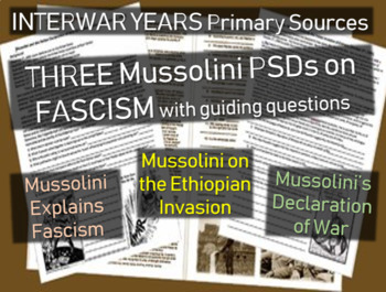 Mussolini & Fascism: 3 primary source docs with political cartoons & guiding Qs