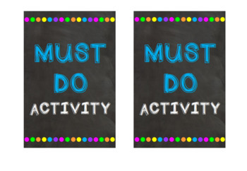 Must Do Activity Signs: Tolsby Frame Inserts