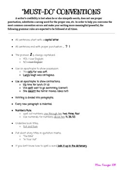 """""""Must-Do"""" Conventions Reference [Revising Guide] -- Common Core Aligned!"""