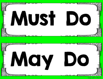 Must Do / May Do Focal Wall Cards UPDATED!
