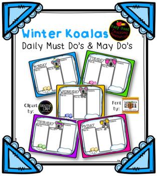 >Editable< Must Do, May Do Sheets- Winter Koalas (rotations section)