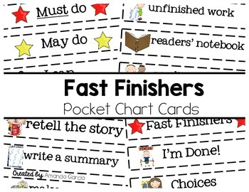Fast Finishers: Pocket Chart Cards
