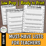 Must-Have Lists for Teacher Recommendations - Great for PD