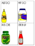 Must-do Mustard, May-do Mayonnaise, Catch-up Ketchup mini posters