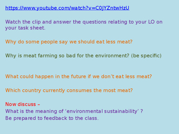 Must we eat meat? (sustainability) (1hr PP, 5 worksheets)