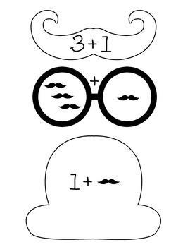 Mustache Addition Math Centers