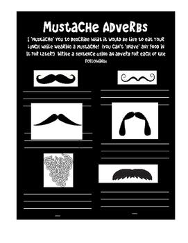 Mustache Adverbs worksheet