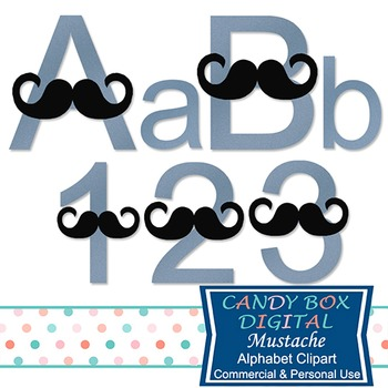 Mustache Alphabet Clip Art For Father's Day and Baby Showers