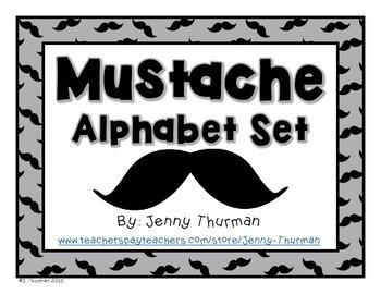 Mustache Alphabet Set