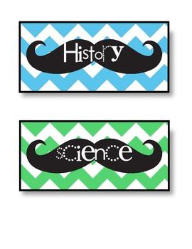 Mustache & Chevron Homework Board Signs
