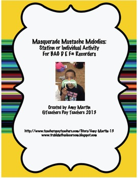 Mustache BAGF#ED Recorder Stations and Worksheets