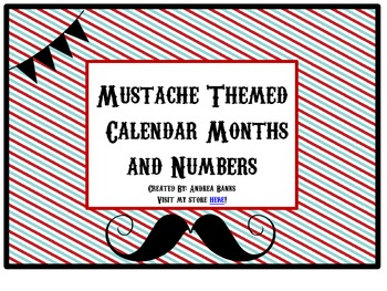 "Mustache ""Barbershop"" Calendar Headers and Numbers"