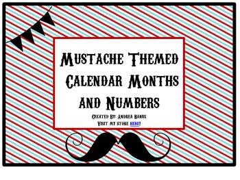 "Mustache ""Barbershop"" Calendar Headers and Numbers"