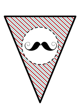 """Mustache """"Barbershop"""" Word Wall Headers with Bunting Banner"""