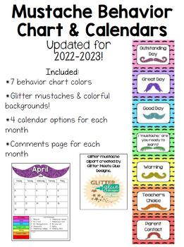 Mustache Behavior Chart & Calendar **UPDATED**