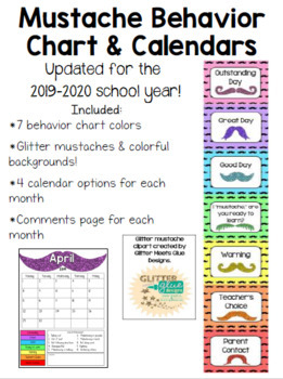 Mustache Behavior Chart & Calendar **UPDATED**