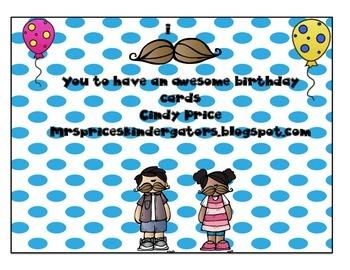 Mustache Birthday Cards