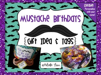 Mustache Birthdays {Gift Idea and Tags}