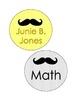 Mustache Book Bin Labels