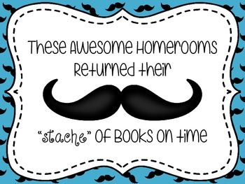 Mustache Book Return Reward Bulletin Board Set