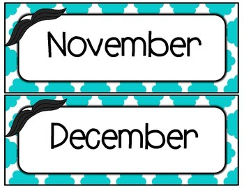 Mustache Calendar Days and Months Set - Aqua