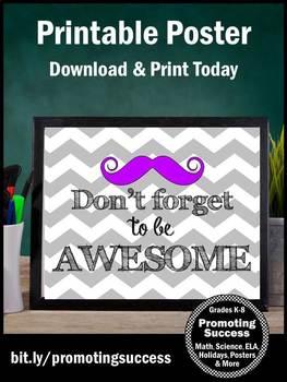 Chevron Classroom Decor, Student Graduation Gift, Printable Poster
