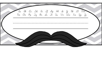 Mustache Chevron Name Plate - 3 to Choose From