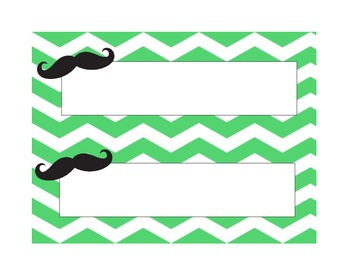 Mustache & Chevron Name Tags