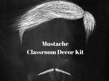 Mustache Classroom Decor Kit