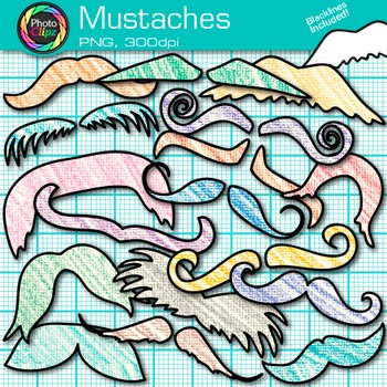 Rainbow Mustache Clip Art {Crayon Textured Graphics for Fa