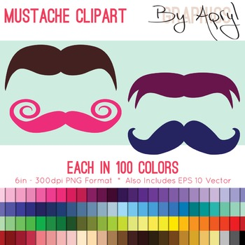 Mustache Clip Art in 100 Colors PNG and Vector EPS Commercial Use