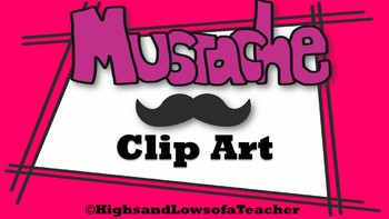 Mustache Clip Art in Variety Colors (120 total!)