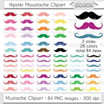 Mustache Clipart Rainbow Mustache Clip Art Gentleman Colorful Printable