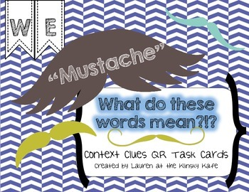 """Mustache"" Contest Clues QR Task Cards"